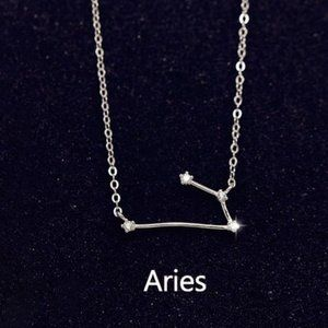 NEW 925 Sterling Silver Zodiac Necklace - Aries